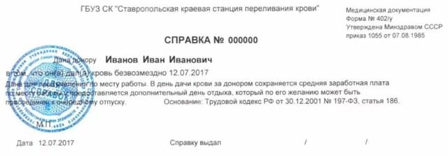 Донорские дни по Трудовому кодексу РФ в 2020 году