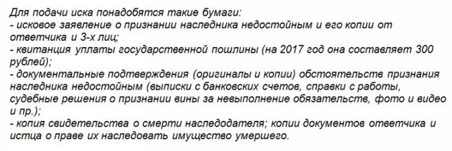 Иск о признании наследника недостойным в 2020 году - заявление образец, после его смерти, размер госпошлины